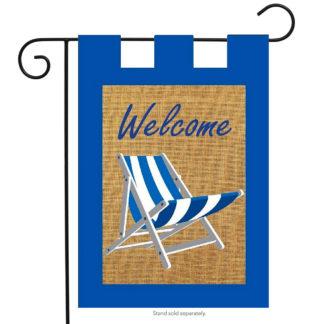 Adirondack Welcome Burlap Garden Flag - g00463
