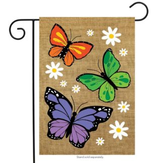 Butterfly Trio Burlap Garden Flag - g00658