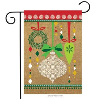 Christmas Ornaments Burlap Garden Flag -g00567