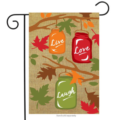 Fall Mason Jars Burlap Garden Flag -g00563