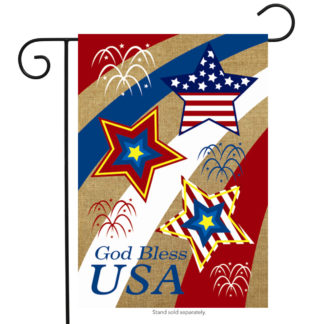 God Bless USA Burlap Garden Flag -g00288