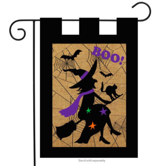 Halloween Witch Burlap Garden Flag -g00280
