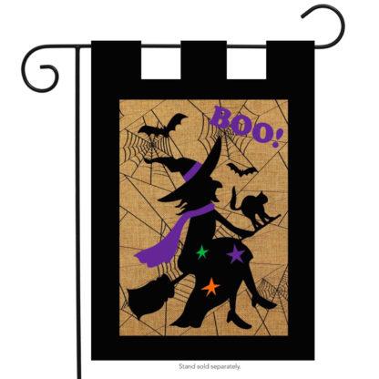Halloween Witch Burlap Garden Flag -g00280