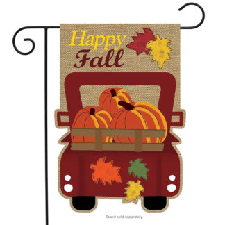 Happy Fall Pickup Burlap Garden Flag -g00562