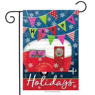 Happy Holidays Camper Garden Flag -g00693