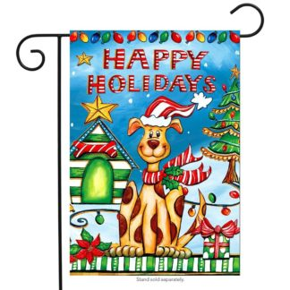 Happy Holidays Dog Garden Flag -g00721