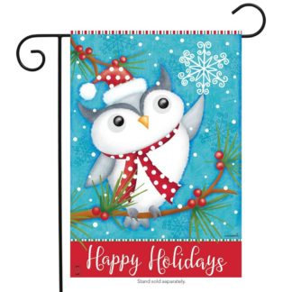 Happy Holidays Owl Garden Flag -00692