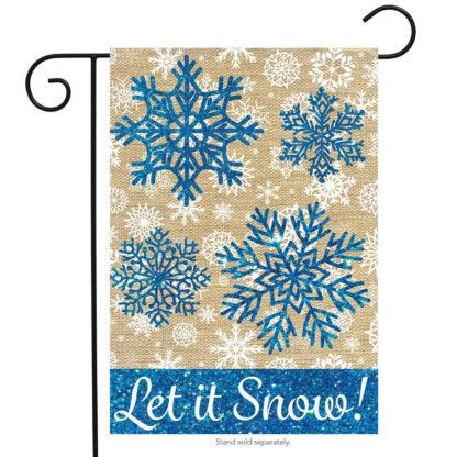 Let It Snow Burlap Garden Flag -g00565