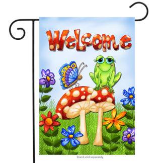 Mushroom Frog Garden Flag -g00041
