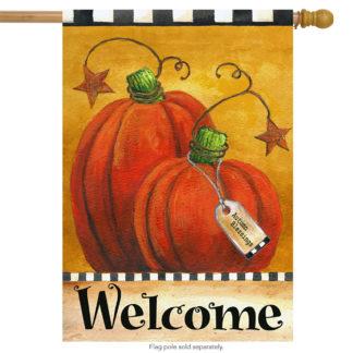 Pumpkin Autumn Welcome House Flag-h00063