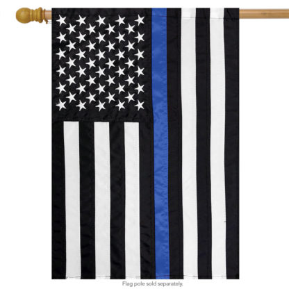 Thin Blue Line Embroidered House Flag -h00670