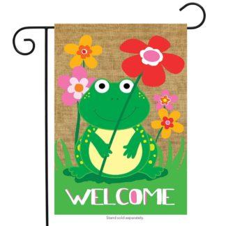 Welcome Frog Burlap Garden Flag - g00657