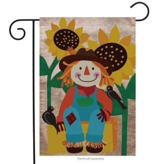 Welcome Scarecrow Burlap Garden Flag - g00559