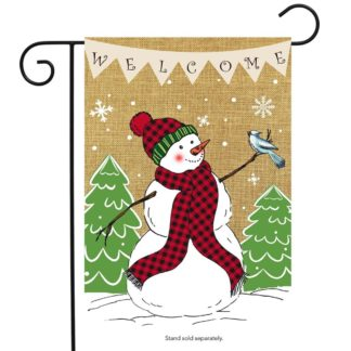 Welcome Snowman Burlap Garden Flag -g00726