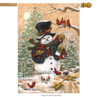 Winter Friends House Flag (Snowman) - h00089