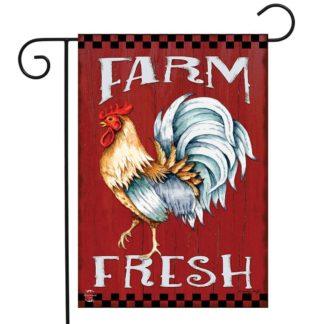 Farm Fresh Rooster Garden Flag -g00818