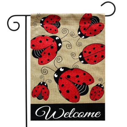 Ladybug Gathering Burlap Garden Flag -g00864