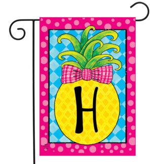 Pineapple Monogram Letter H Garden Flag -g00839-H