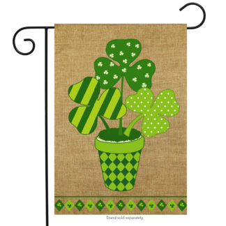 Potted Shamrock Burlap Garden Flag - g00282