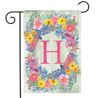 Spring Monogram Letter H Garden Flag -g00837-H