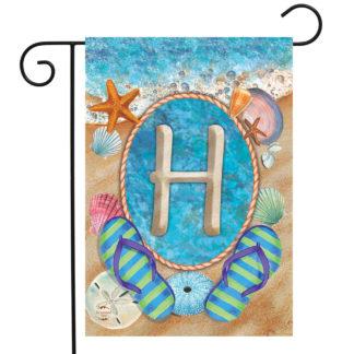Summer Monogram Letter H Garden Flag -g00838-H