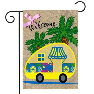 Tropical Camper Burlap Garden Flag -g00865