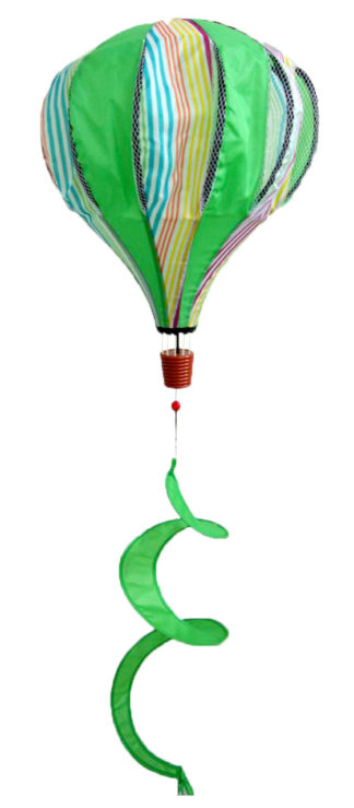 Green Striped Deluxe Hot Air Balloon Wind Twister -w38